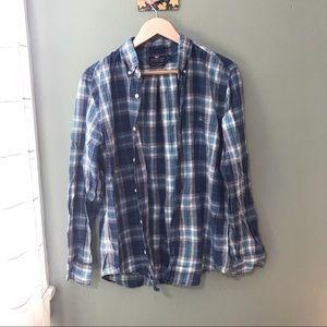 Vineyard Vines Slim Fit Tucker Blue Flannel Size L